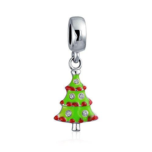Green Enamel Christmas Tree (Bling Jewelry Green Enamel Christmas Tree Dangle Bead Charm .925 Sterling Silver)