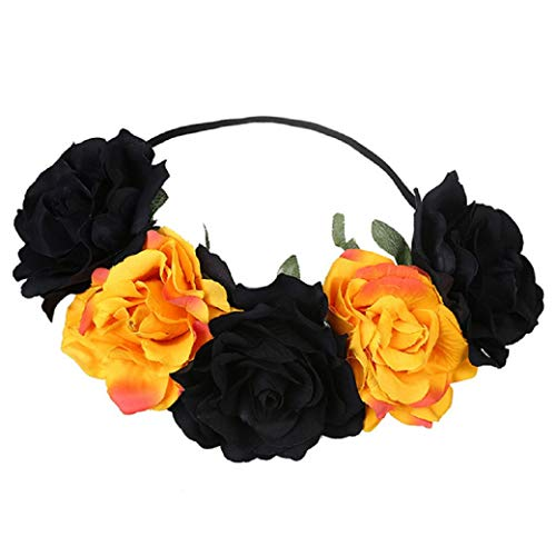 Day of The Dead Rose Flower Crown Floral Headpiece Hair Headband for Women on Halloween, Masquerade and Parties -