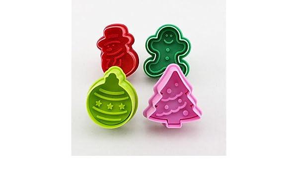 Meiyo galletas sello para galletas molde 3d moldes para galletas de Navidad muñeco de nieve cortador de galletas émbolo DIY molde de casa de jengibre: ...