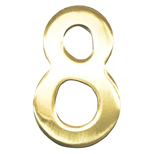 Number Reflective 3 Inch (Addresses of Distinction 3-Inch Brass Mailbox Number 8 – Self Adhesive Floating #8 – Williamsburg Font – Won't Tarnish – Weather Resistant – Numbering for Address Plaque, Home, Door, Business)