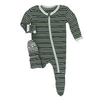 Kickee Pants Little Boys Print Footie with Zipper - Succulent Kenya Stripe, 18-24 Months THIS SHOULD LIST AS 12-18 Months