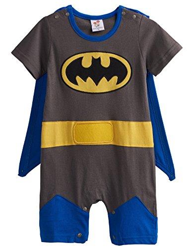 [A&J Design Baby Boys' Batman Short Sleeve Romper Costume (6-9 Months)] (Batman Costumes Infant)