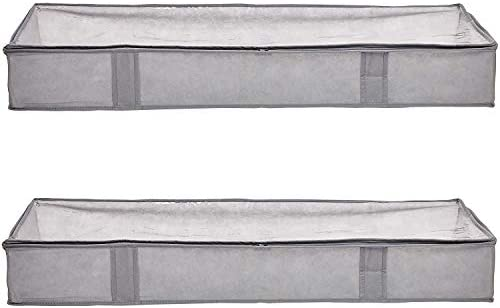 AmazonFundamentals Under Bed Storage Containers with Zipper, 2-Pack