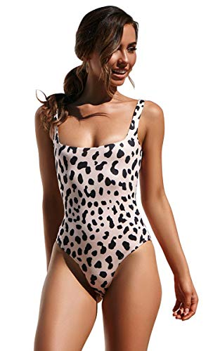 CinShein Women's Bikini Hign Cut Leopard Print One Piece Monokini Swimsuits Backless Thong Bathing Suits