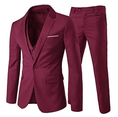 Trajes para Hombres 3 Piezas Elegante Traje de Estilo Occidental Blazer Chalecos y Pantalones