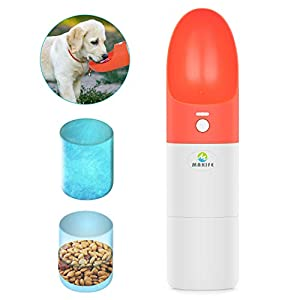 Makife Dog Water Bottle 2-in-1 Portable Pet Water Bowl with Food Container Leakproof Food Grade Silicone for Pets Outdoor Walking Running Hiking – 15pcs Dog Waste Bags