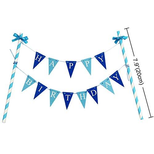 """KUNGYO """"Happy Birthday"""" Decoración de la Torta de Cumpleaños- Mini Bandera Azul y 1"""