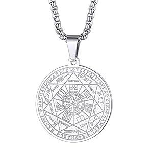 FaithHeart Médaille Talisman 7 Archanges Personnalisable-Pendentif Sceau des 7 Archanges Or/Noir/Acier Inoxydable…