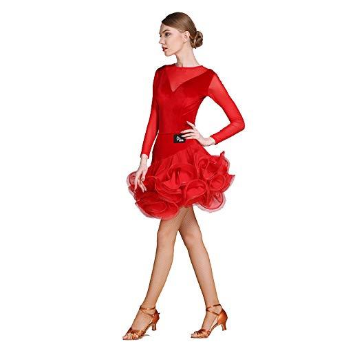 モダンな女性の大きな振り子ベルベットラテンダンスドレスモダンダンスドレスタンゴとワルツダンスドレスダンスコンペティションスカートロングネット糸ドレスダンスコスチューム B07HKDBYYM  Red Large