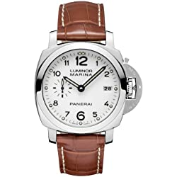 Panerai Luminor 1950 Automatic White Dial Brown Leather Mens Watch PAM00523