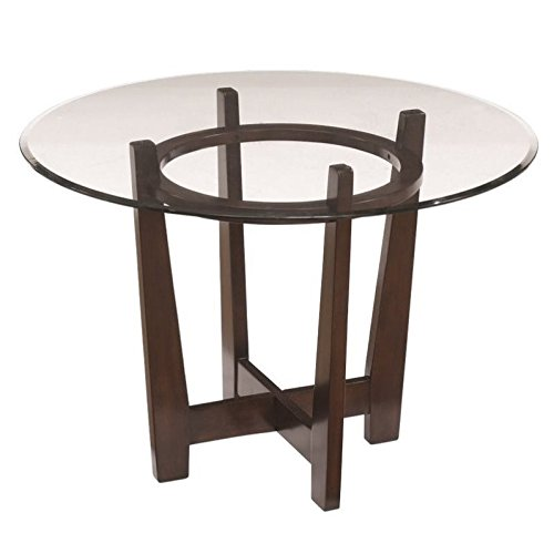Ashley Furniture Signature Design - Charrell Dining Room Table - Glass Top - Round - Medium Brown (Contemporary Dining Room Table)
