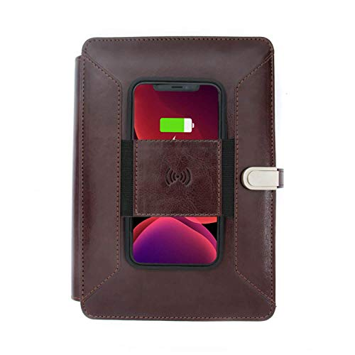 Pennline Superbook Organizer with Wireless Charging, 8000mAh Powerbank and 16GB Flash Drive – Coffee Brown