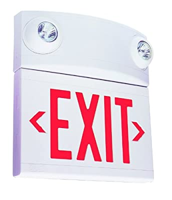 Dual-Lite LTURW3 LED Exit Sign & Emergency Light Combo, 10W Red Letters Remote Single/Double Face - White