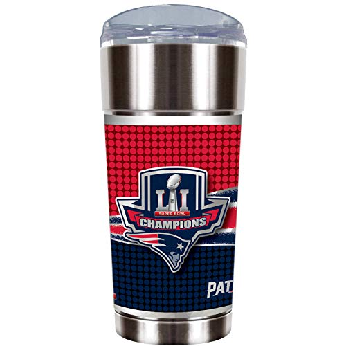 NFL Stainless Steel Spill Resistant Travel Tumbler with Wrap (New England Patriots, 24 oz)
