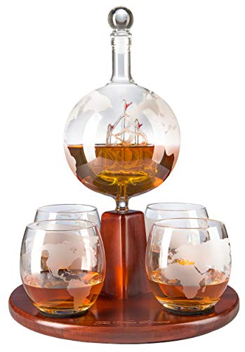Etched World Decanter Globe Decanter, with Antique Ship and 4 World Map Glasses by The Wine Savant, Great Gifts for Dad, Boyfriend or Anyone!
