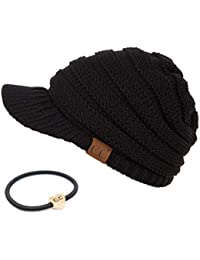 Hatsandscarf Exclusives Women's Ribbed Knit Hat with Brim (YJ-131)
