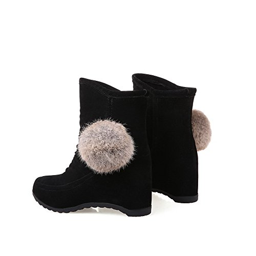 Allhqfashion Women's Suede Solid Pull On Round Closed Toe Kitten Heels Boots Black jlpH2