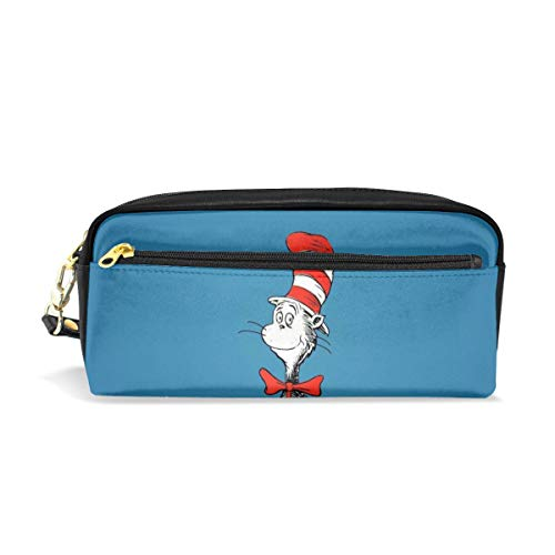 Pencil Case Pouch The Cat in The Hat Cartoon Large Capacity Pen Bag Makeup Pouch Durable Students Stationery Two Pockets with Double Zipper ()
