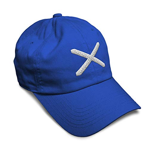 Soft Baseball Cap Scotland Flag Cross Embroidery Twill Cotton Dad Hats for Men & Women Buckle Closure Royal Blue Design Only