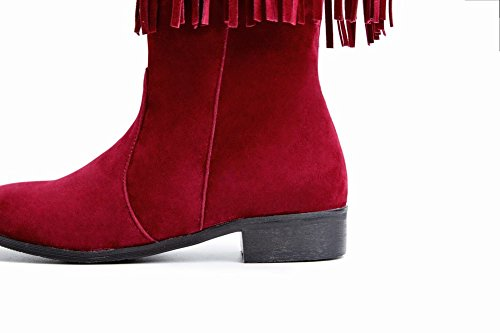 Mee Shoes Damen langschaft chunky heels Quaste Niedrig Stiefel Rot