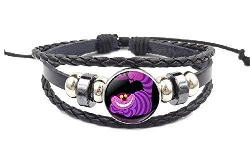 (New Horizons Production Alice in The Wonderland Cheshire Cat Glass Domed Braided Leather Bracelet)