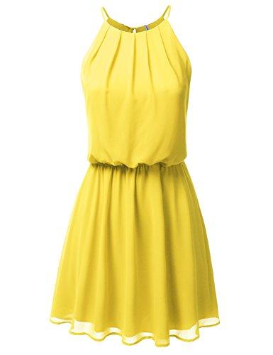 JJ Perfection Women's Sleeveless Double-Layered Pleated Mini Chiffon Dress Yellow XL