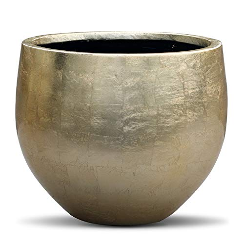 Vases And Props Gold Leaf Lacquered Round Planter - Round Bottom Fiberstone Flower Pot 14