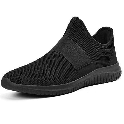 Qansi Mens Sneakers Respirant Léger Athlétique Chaussures Maille Mode Sneakers Noir