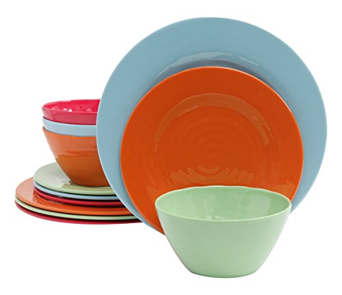 Gibson Home 12 Piece Brist Melamine Dinnerware Set of 4, Ass