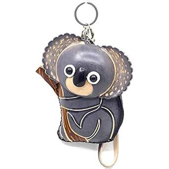MOREFUN Genuine Leather Koala Coin Purse Change Card Pouch Wallet Zipper Handbag Grey