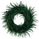 "Hackle Peacock Feather Christmas Wreath - 18"" Green Farmhouse Autumn or Fall Decor"