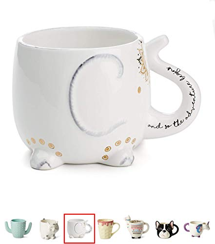 White Ceramic Coffee or Tea Mugs: Tri-Coastal Design Elephant Coffee Mug with Hand Printed Designs and Printed Saying - 18.6 Fluid Ounce Large, Cute Handmade Cup