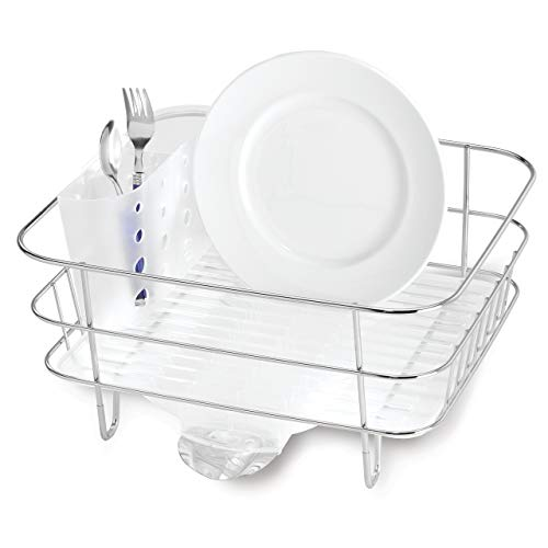 simplehuman Kitchen Compact Wire Frame Dish Rack With Removable Spout, Stainless Steel (Renewed)