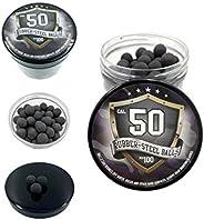 100 x Hard Mix Rubber Steel Balls Paintballs Reballs Powerballs in 50 Cal. for HDR T4E RAM Shooting Training H