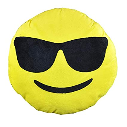MagicBlizz Cool Dude Smiley Emoji Stitched Yellow Plush Cushions (30 cm)