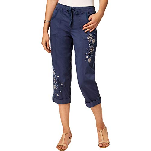 Style & Co. Womens Embroidered Comfort Waist Capri Pants Blue 8
