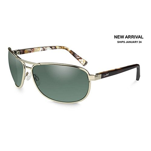 Wiley X ACKLE06 WX Klein Sunglasses w/Gold Frame & Polarized Green Lens
