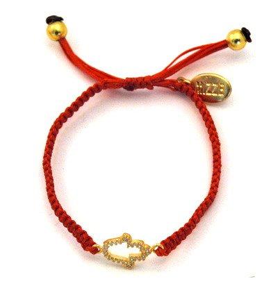 MIZZE Jewelry Handmade Golden Silver Hamsa Charm Protection Bracelet Adjustable for Women