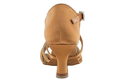 Scarpa da ballo 5 fasce in raso flesh con incrocio sulla caviglia, tacco 5,5 cm