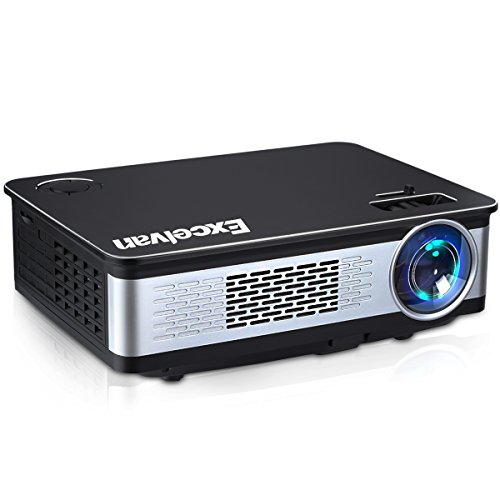 Excelvan 3300 Lumens HD Multimedia Home Theater Projector Support 1080P with HDMI VGA 2xUSB AV Interfaces for Entertainment Game Party Home Movie Video Cinema Game by Excelvan