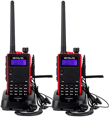 Retevis RT5 2way Radios Long Range, VHF UHF Dual Band Radio, VOX FM Emergency Two Way Radio Red, 2 Pack