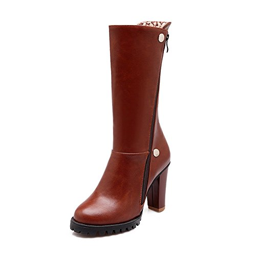 Toe Ground Urethane MNS02099 Firm Zip Leather Boots Closed 1TO9 Lining Brown High Womens Smooth High Boots Warm Waterproof Top Heels Road qHp6Faxw