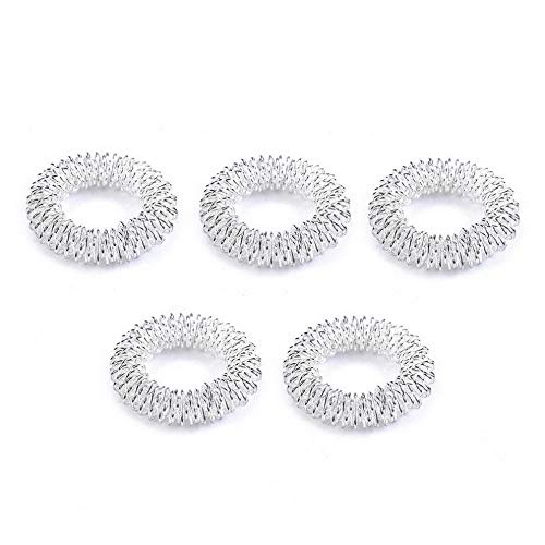 Rhame 10Pcs Finger Massage Ring Acupuncture Health Care Body Acupressure Massager New | Model RNG - 8094 | 5pcs Silver