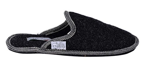 Le Clare Boiled Wool Slippers for Men - Anthracite 701Bay
