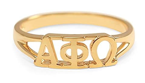 Alpha Phi Omega Co Ed 14k Gold Plated Sorority Ring with Greek letters (6.0)