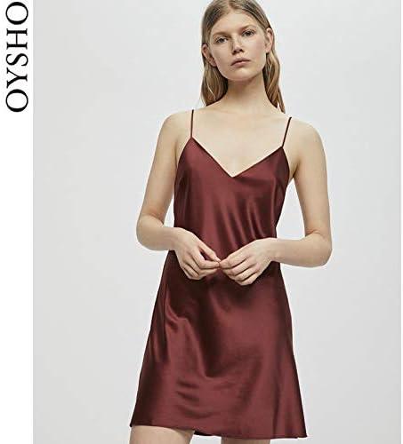 WXNLEAI Oysho rojo satinado cómodo versión corta con cuello ...