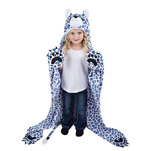 Fin Fun Spotzy Snow Leopard Wearable Hooded Blanket by Wild Things