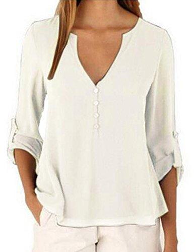 T de V Sexy Shinekoo Col Manches shirt Tops en Mousseline Longues Wei Soie Femme wZqIZgxrv
