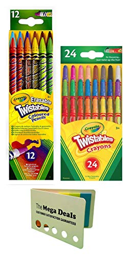 Crayola Twistable Erasable Colored Pencils, 12 Count | Twistable Mini Crayons, 24 Count | Includes 5 Color Flag -