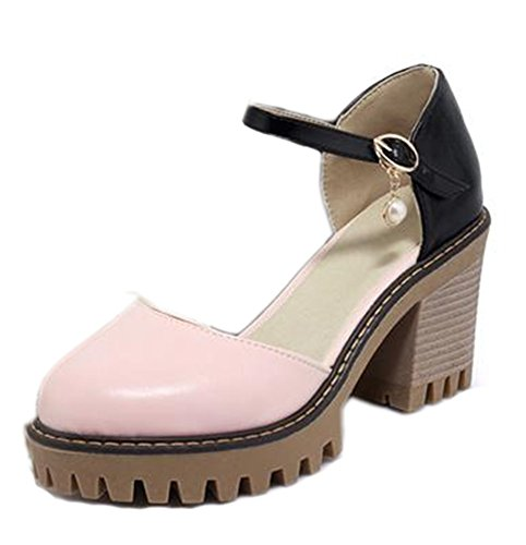 Easemax Womens High Chunky Heel Round Toe Platform Ankle Buckle Strap Sandals Pink cuUQlg